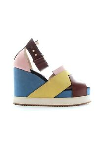 Chrissie-Morris-039-Isla-039-Colour-Block-Leather-and-Suede-Wedge-Sandals-RRP-480