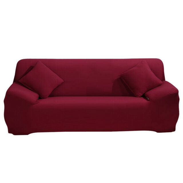 Wine Red Sofa Covers Protector Loveseat Chair Arm Couch Cover For 3 Seater