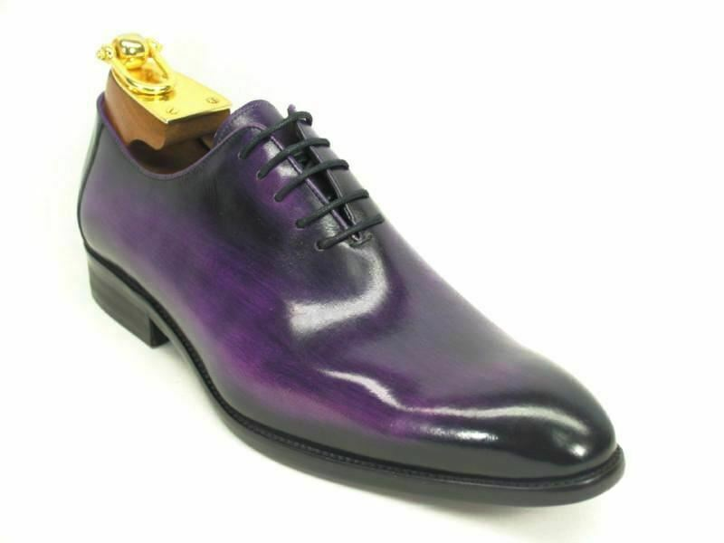 Carrucci Men's Leather Calfskin Lace-up Oxford viola Dress scarpe KS505-12