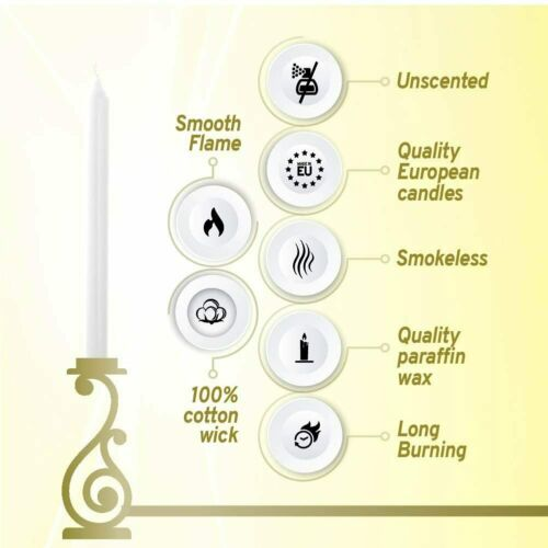 White Taper Candles 10 Inch Unscented 10 Pack Table Decor Holiday Christmas Gift