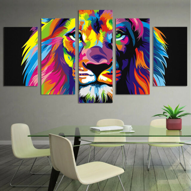 Glowing lion and tiger picture 5 Pieces Canvas Wall Art Print Poster Home Decor