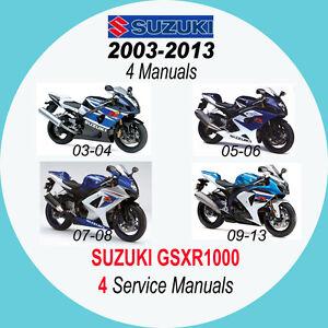 suzuki gsxr1000 03 13 service manual 4 manuals on cd 03 05 07 rh ebay co uk 06 gsxr 1000 manual 06 Gsxr 1000 Fairings