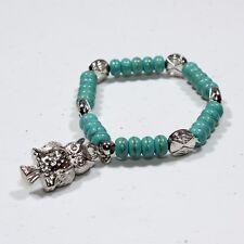 New Aquamarine Wood Beads Bracelet with Owl Charm, Stretchable
