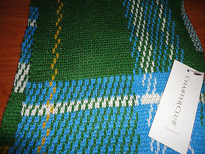 * Womens Charter Club Green Blue White Yellow Plaid Knit Scarf Acrylic Wool SOFT