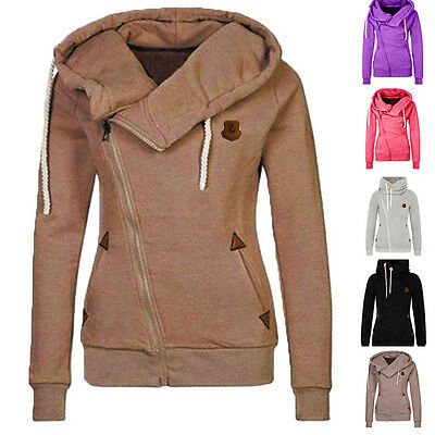 Women Winter Plain Zipper Zip Top Hoodie Hooded Sweatshirt Coat Jacket Pullover