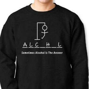 b714468f Sometimes Alcohol IS The Answer Funny Tee Hangman Beer party Crew ...