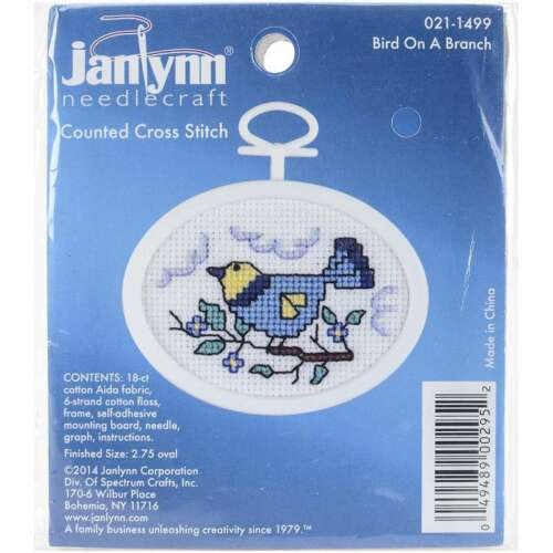 """Bluebird Mini Counted Cross Stitch Kit 2.75/"""" Oval 18 Count 049489002952"""
