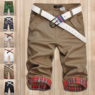 New Korean Fashion Stylish Mens Short Pants Lattice Flanging Cropped Trousers