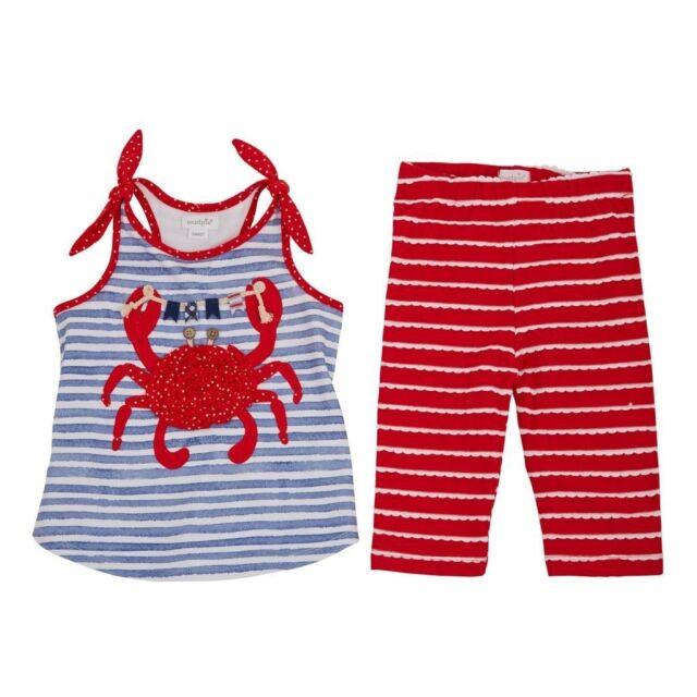 Mud Pie E7 Boathouse Summer Baby Girl Striped Crab Tunic /& Capri Set 1112342