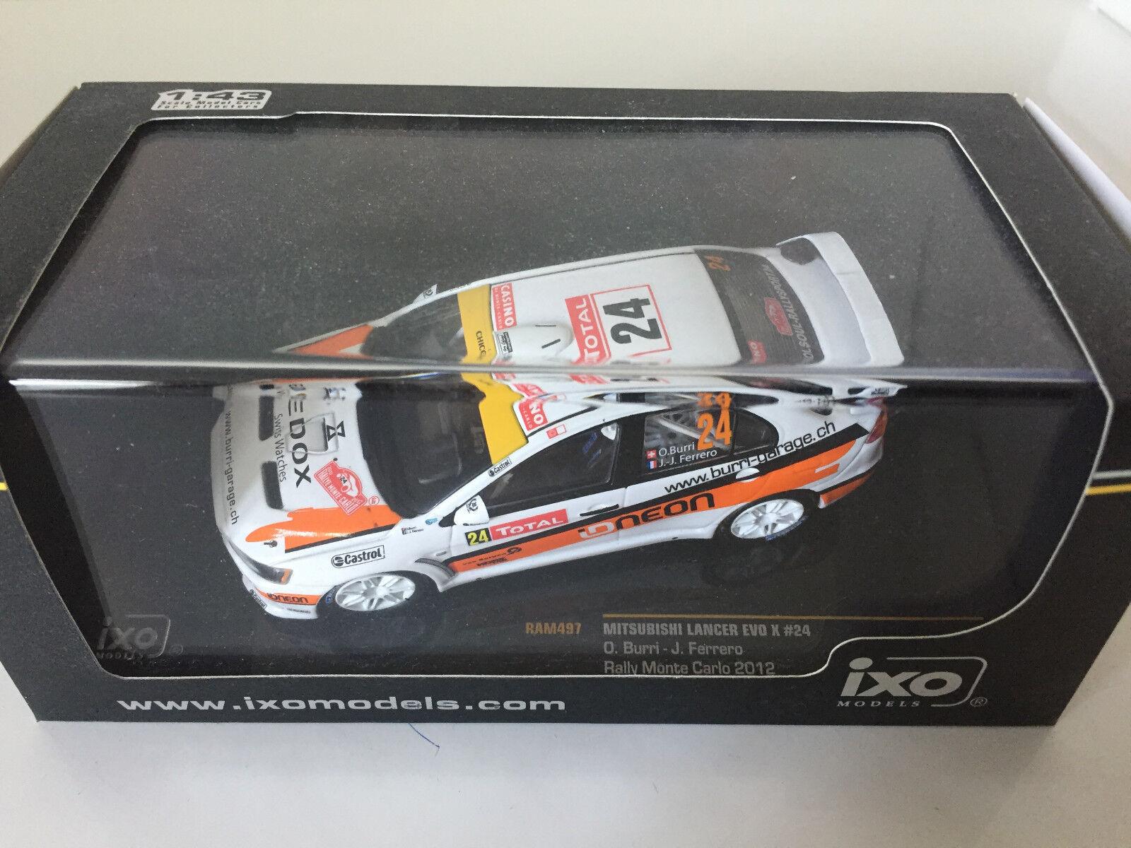 MITSUBISHI LANCER EVO X 10 BURRI RALLYE MONTE CARLO 2012 RALLY WRC IXO 1/43