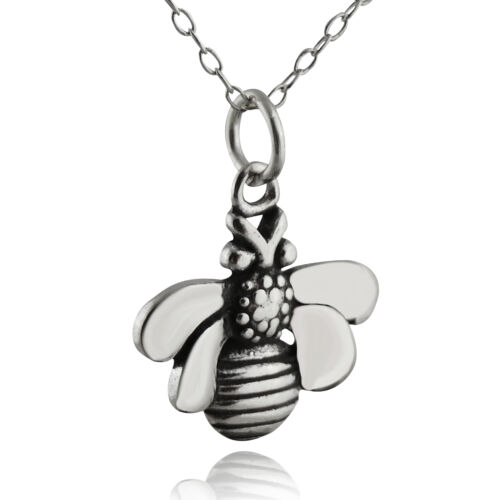 Honey Bee Necklace Charm Bumble Insect Queen Bees NEW 925 Sterling Silver
