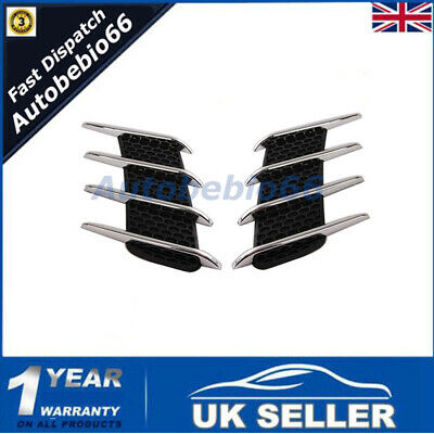 ABS 20*30CM Chrome Exterior Decal Side Air Intake Vent Air Flow Grille Stickers