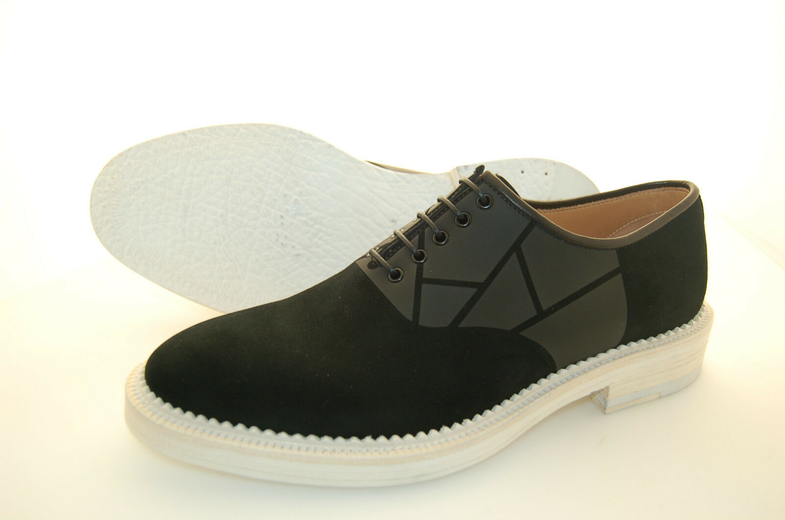 MAN - 41 - OXFORD W. APPLICATION - FRANCESINA - BLACK SUEDE - LEATHER SOLE