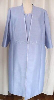 Analitico Jacques Vert Luce Blu Fiordaliso Gamma Shantung Shift Dress & Cappotto- Lucentezza Luminosa