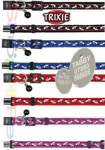 Nylon-Cat-Collar-TRIXIE-Snap-Away-With-or-Without-a-ENGRAVED-PET-ID-TAG-Tags