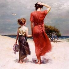 """Pino Giclee on Canvas """"Afternoon Stroll"""" Mom Child Sisters Beach Scene art COA"""