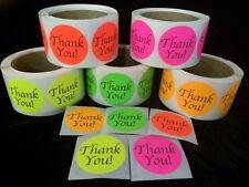 "1000 BIG THANK YOU LABEL 2"" STICKER Circle Colors NEON FLUORESCENT Pink Orange"