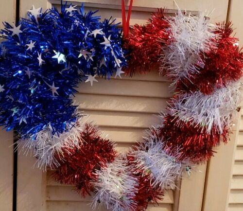 Patriotic Heart Hanging Decor US Flag Pattern Tinsel Garland Durable Plastic New