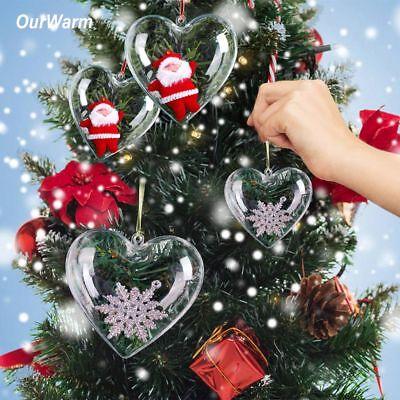 50x Diy Clear Plastic Heart Ball Fillable Baubles Christmas Tree Ornaments Decor 9783110088229 Ebay