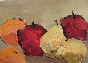 TWO-ORANGES-TWO-APPLES-TWO-PEARS-Still-Life-Fruit-Painting-Knives-5x7-060319-KEN