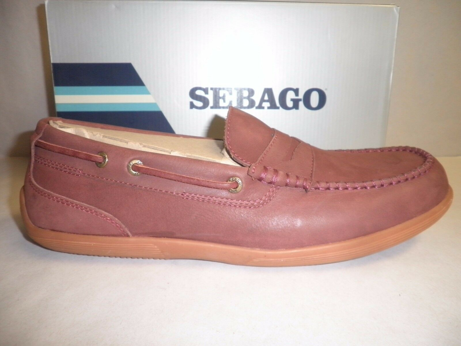 Sebago Size 11 M NANTUCKET CLASSIC Merlot Slip On Leather Loafers New Mens shoes
