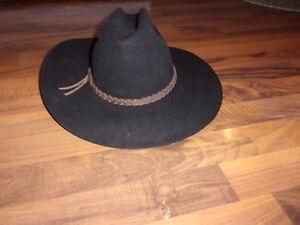 5X Genuine Fur Felt Black Cowboy Hat size 7 1 4 Crown 5   Brim 4 ... 95ca02efc10