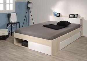 Bett stauraumbett einzelliege 140x200 cm schlafzimmer akazie weiss