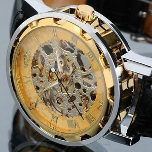 Men-039-s-Gold-Dial-Skeleton-Black-Leather-Mechanical-Sport-Army-Wrist-Watch-Classic