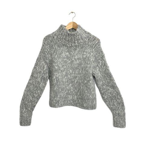 Augden Gray Cropped Oversized Chunky Knit 100% Alp