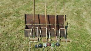 Jeu de croquet Edwardian Benetfink pour 4 personnes, maillets de jeu, 6 boules de cerceaux de fer