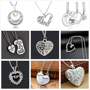 Chic-Love-Heart-Family-Charms-Pendant-Necklace-Best-Friends-Gift-Chain-Jewelry