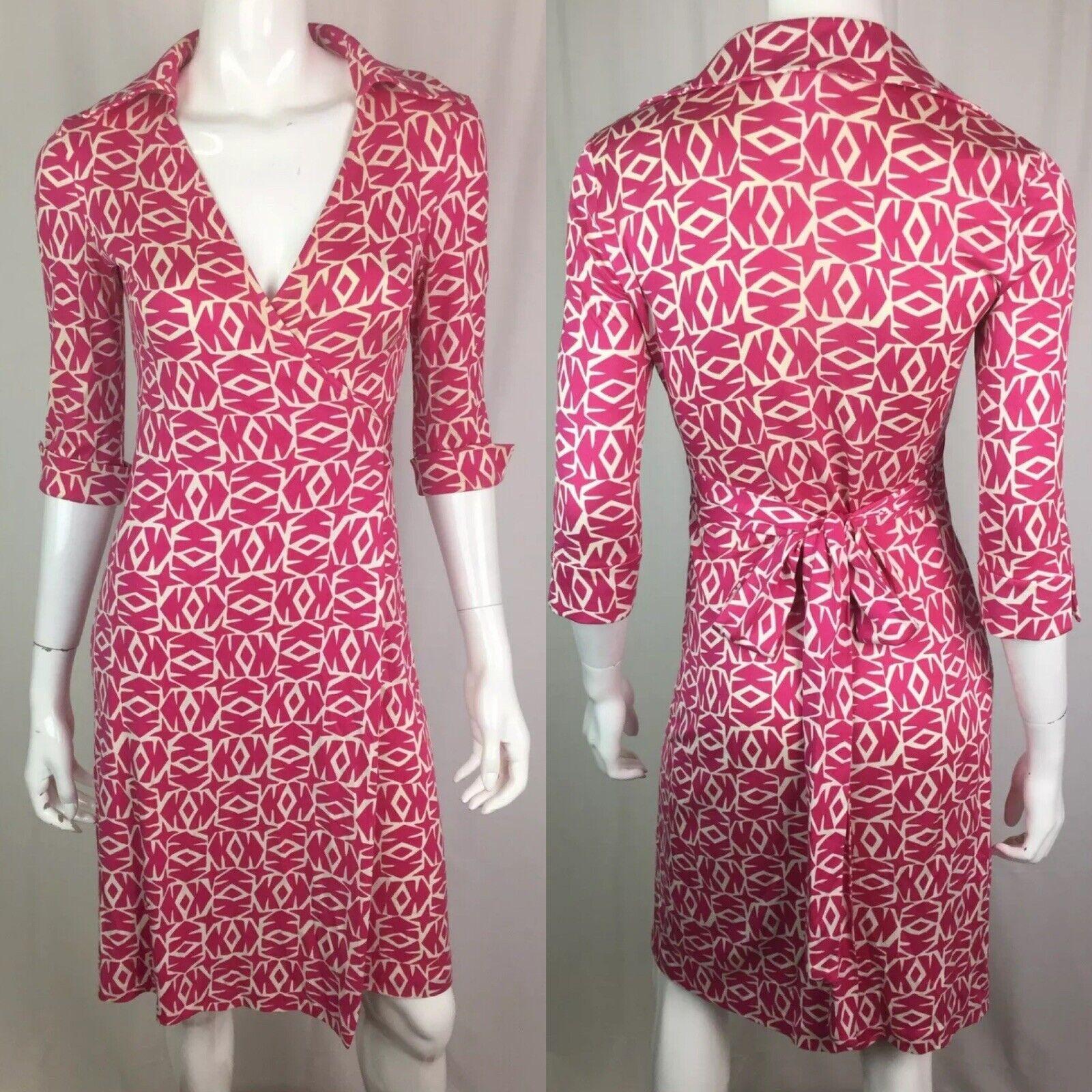 425 Diane Von Furstenberg Vintage 4 Soie Rose Jersey à hommeches 3 4 Robe Portefeuille DVF