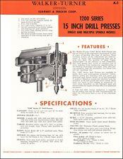 Walker Turner 1200 Series 15 Inch Drill Presses Product Spec Sheet