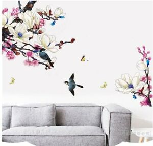 Wall-Sticker-Magnolia-Bird-Flower-Living-Room-Lobby-Home-Decor-Decal-Bedroom-art