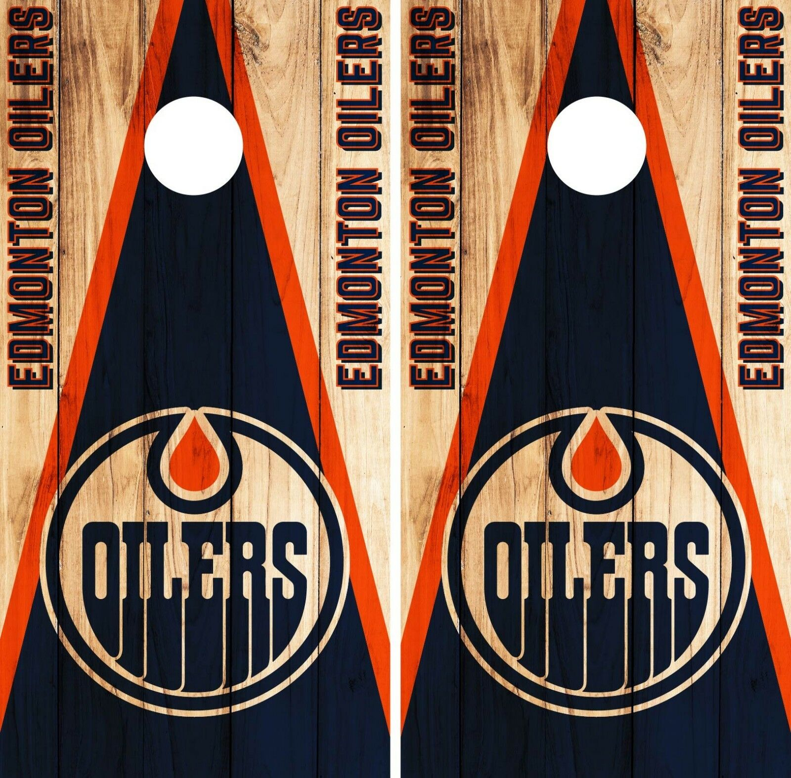 Edmonton Oilers Cornhole Wrap NHL Game Board Skin Set Vinyl Decal Art CO195