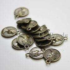 16pcs Antique Brass Tone Base Metal Charms-Coin 16mm (1075X-D-128B)