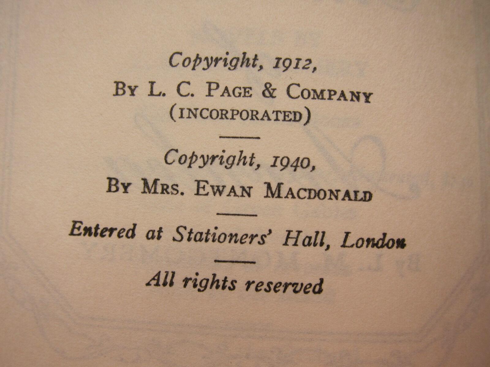 Old Book Chronicles Of Avonlea Green Gables Story DJ 1940 GC