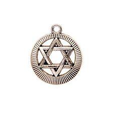 "Silver Tone Israel Judaica Star Of Magen David Pendant Free Necklace 18"" Link"