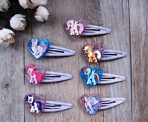 Pair-of-Kids-Childrens-My-Little-Pony-Glitter-Heart-Shape-Hair-Accessories-Clips