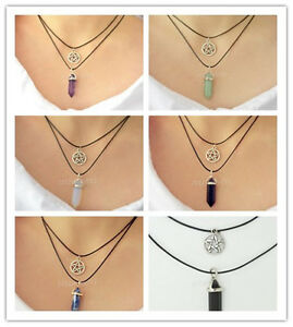 Natural-Crystal-Choker-Necklace-Pendant-Hippy-Hexagon-Prism-Opal-Onyx-Charm