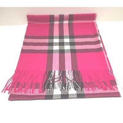 New Pashmina Scarf Shawl Veil Hot Pink Quality Wrap Woman Men Plaid Accessory