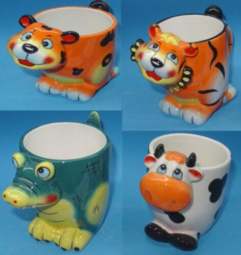 Becher Kinder Tasse mit Henkel Zoo Kindergeschirr Katze Löwe Kuh Krokodil