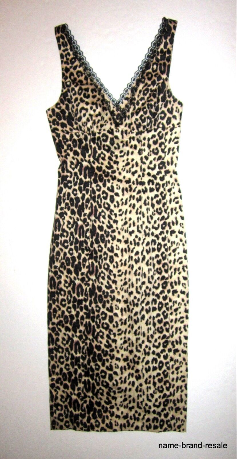 Bebe Leopard Animal DRESS damen XS Sexy Slim Tank Style Fitted Lace Trim Retro
