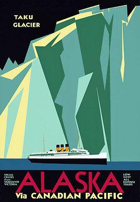 TR29 Vintage Alaska Taku Glacier Cruise Rail Canadian Travel Poster Re-Print A4