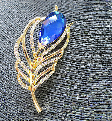 Fashion Luxury Vintage Shiny Blue Crystal Rhinestone Peacock Feather Brooch Pin
