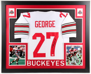 hot sale online 53726 408cc Details about Eddie George Signed Ohio State Buckeyes 35 x 43 Custom Framed  Jersey (JSA COA)