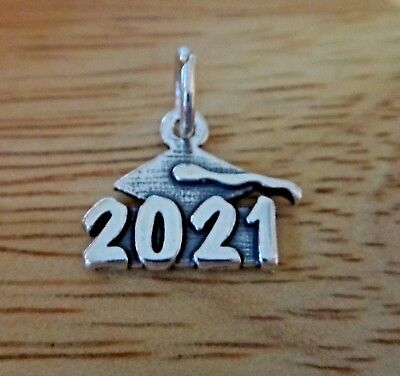 Sterling Silver 10x11mm Stacked College High School Graduation 2021 Charm