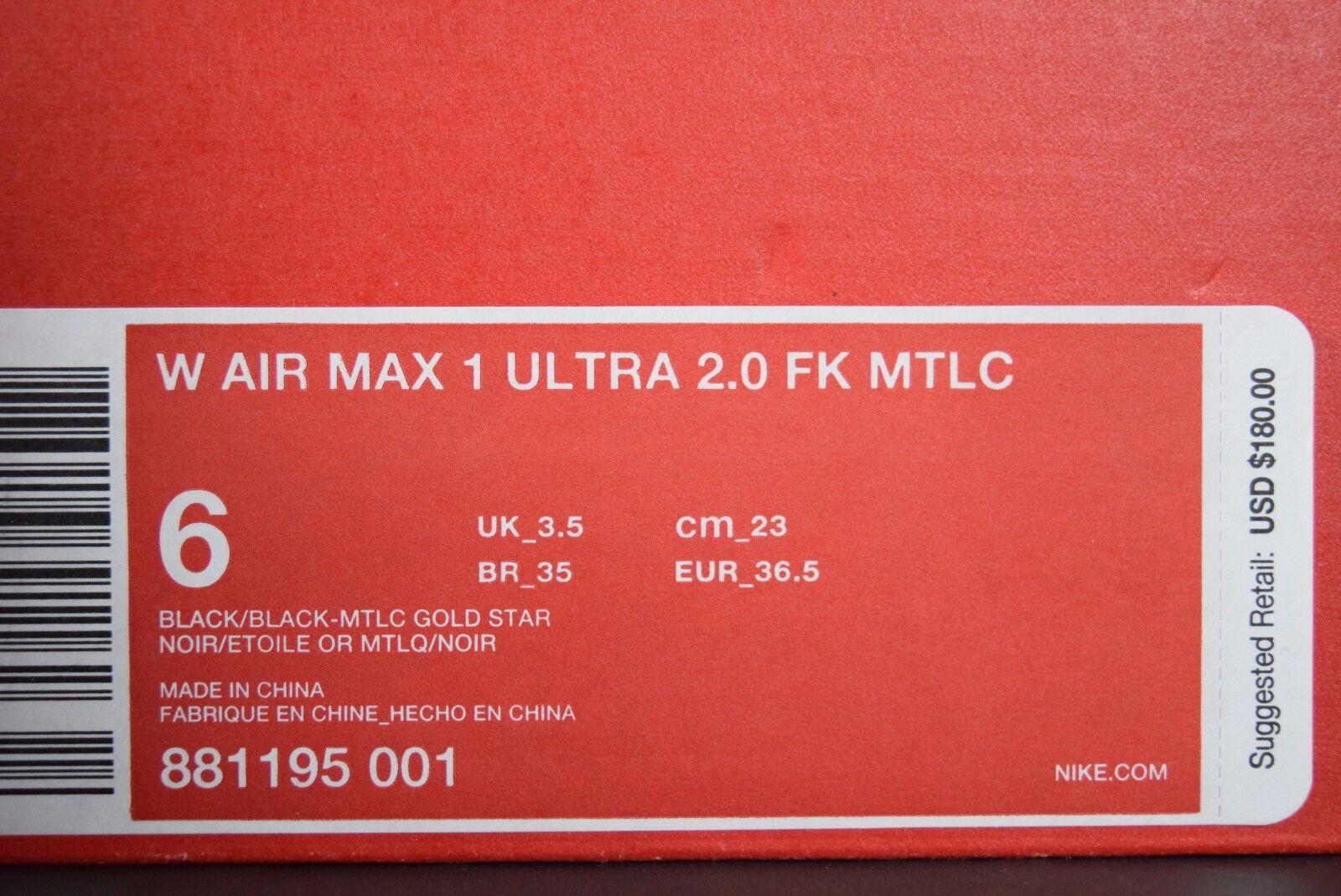 Nuevo En Caja Caja En Para Mujeres Air Max 1 Ultra 2.0 Flyknit Metálico Negro Dorado 46cbfb