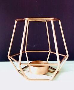 ea8feffe73 Image is loading Geometric-Copper-Rose-Gold-Metal-Wire-Tea-Light-