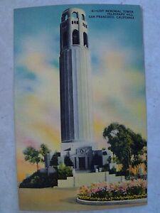 San-Francisco-California-Coit-Tower-Unused-Antique-Linen-Postcard-CA-Calif-PC